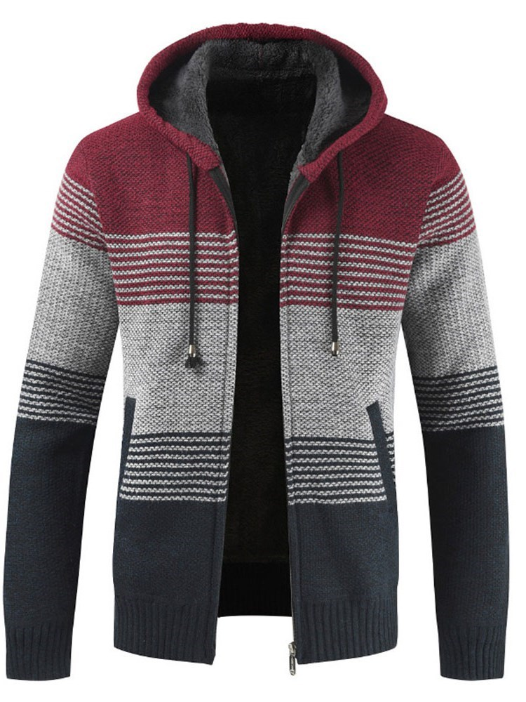 Standard Color Block Hooded Patchwork Straight Mens Sweater