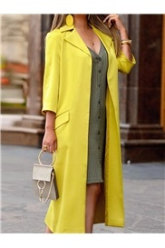 Long Wrapped Notched Lapel Fall Three-Quarter Sleeve Women's Trench Coat