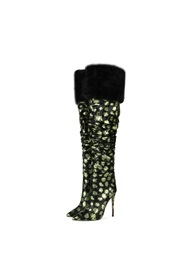 Pointed Toe Stiletto Heel Floral Short Floss Boots