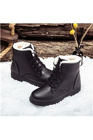 Round Toe Plain Lace-Up Front Korean Boots