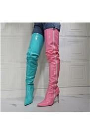 Color Block Pointed Toe Stiletto Heel Professional Boots