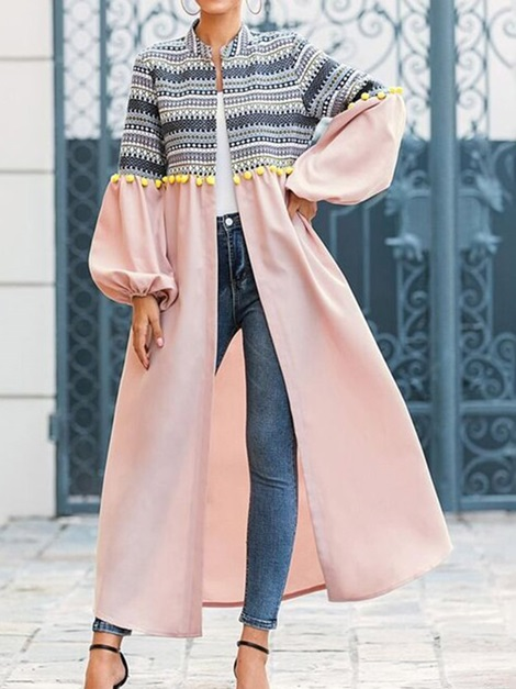 Stand Collar 3D Long Long Sleeve Loose Women's Trench Coat