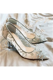 Slip-On Pointed Toe Lace 7cm Thin Shoes