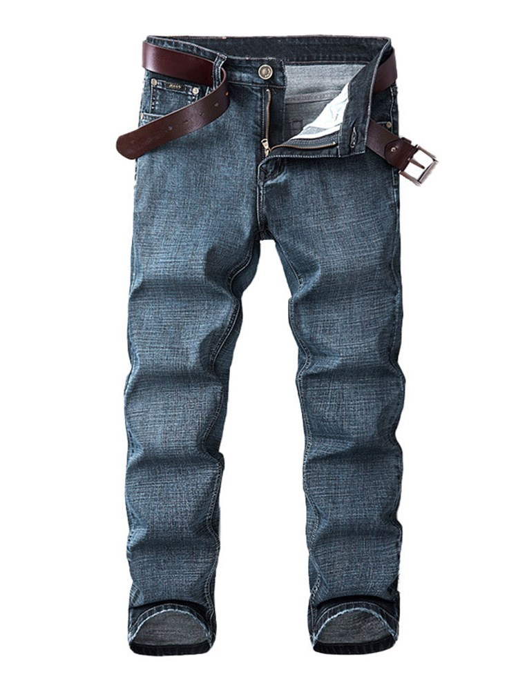 Plain Worn Straight Casual Mens Jeans