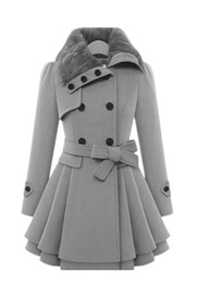 Slim Double-Breasted Button Fall Mid-Length Women's Overcoat