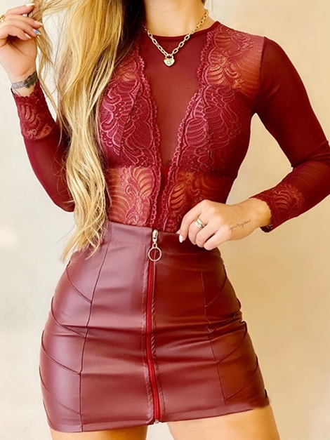 Skirt Zipper Fashion Round Neck Bodycon Women's Two Piece Sets