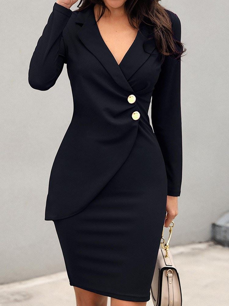 Long Sleeve Knee-Length Lapel Single-Breasted Bodycon Womens Dress