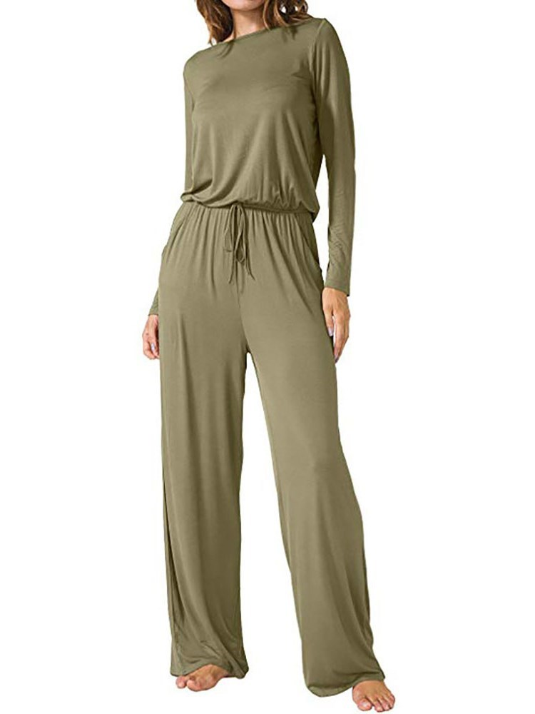 Full Length Plain Lace-Up Loose Mid Waist Womens Jumpsuit
