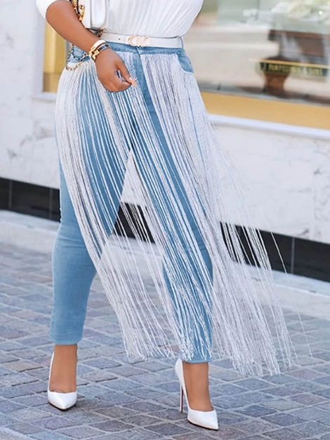 Plain Tassel Pencil Pants Skinny High Waist Women's Jeans