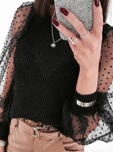See-Through Round Neck Long Sleeve Women's Sweater