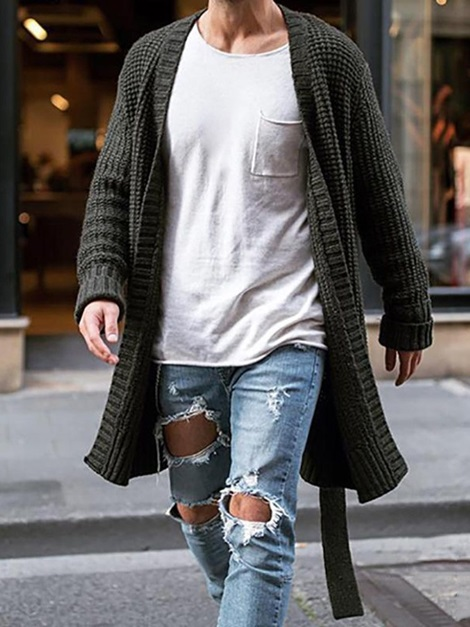 Mid-Length Plain Fall Men's Sweater