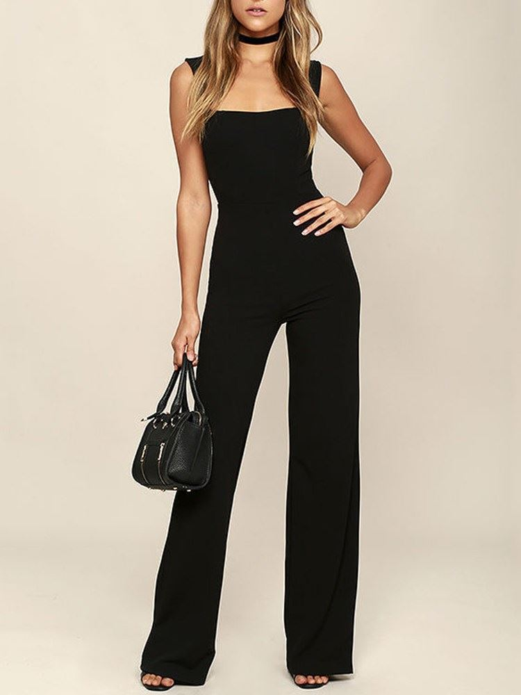 Full Length Strap Plain Straight Slim Womens Jumpsuit
