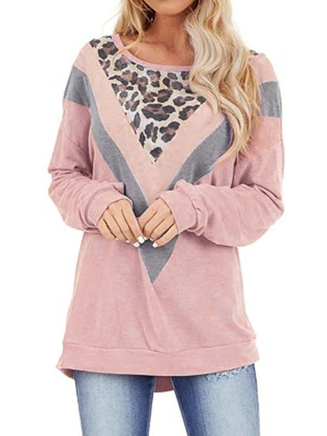Round Neck Standard Long Sleeve Loose Casual Women's T-Shirt