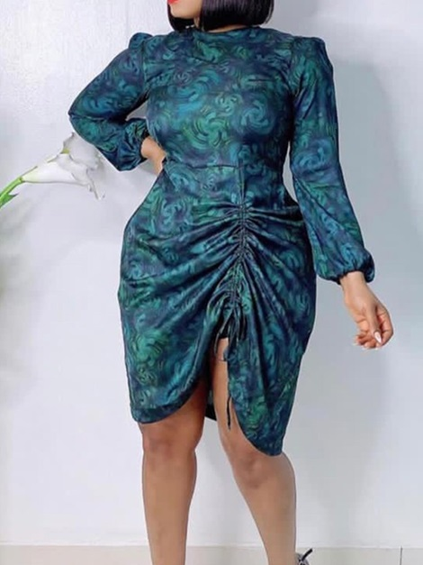 Plus Size Knee-Length Long Sleeve Lace-Up Summer Sexy Women's Dress