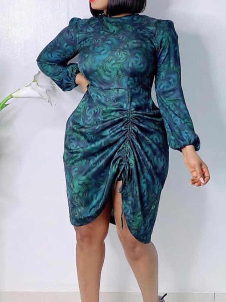 Plus Size Knee-Length Long Sleeve Lace-Up Summer Sexy Womens Dress