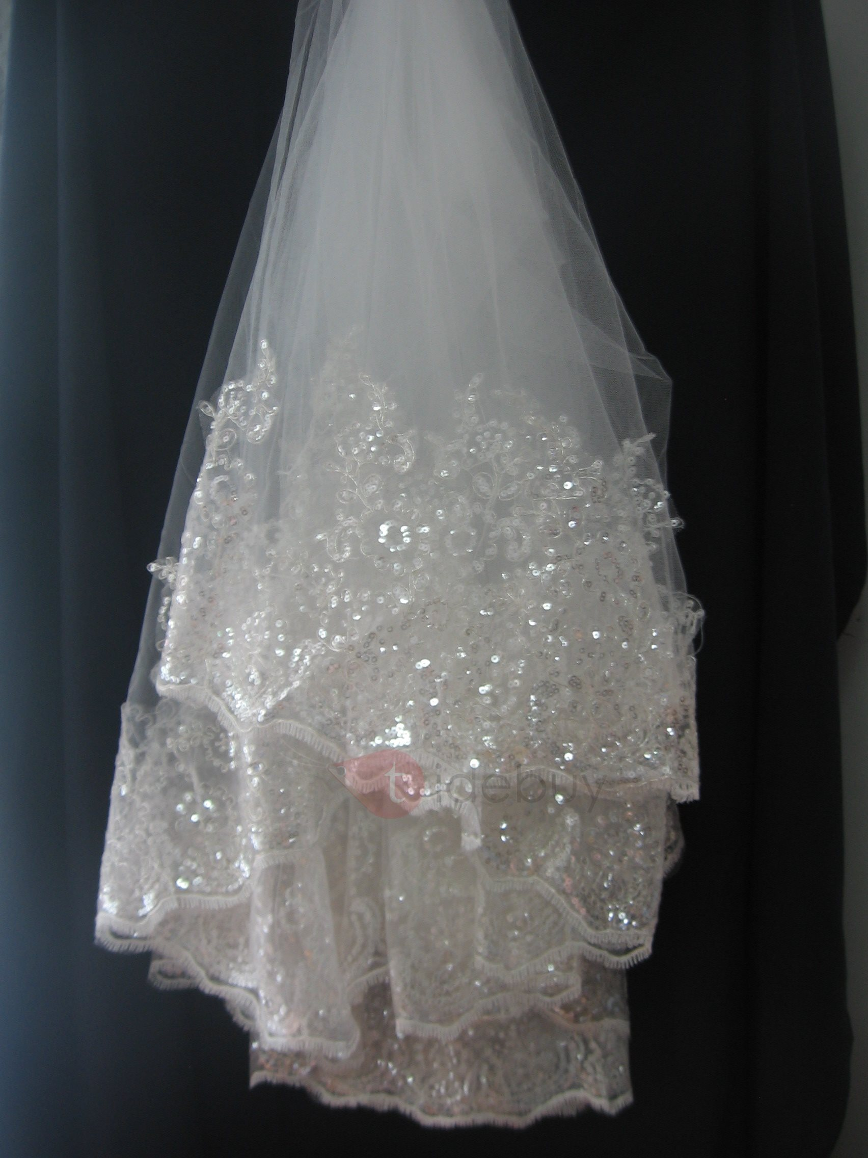 Glamorous Lace Applique Edge Fingertip Wedding Bridal Veil