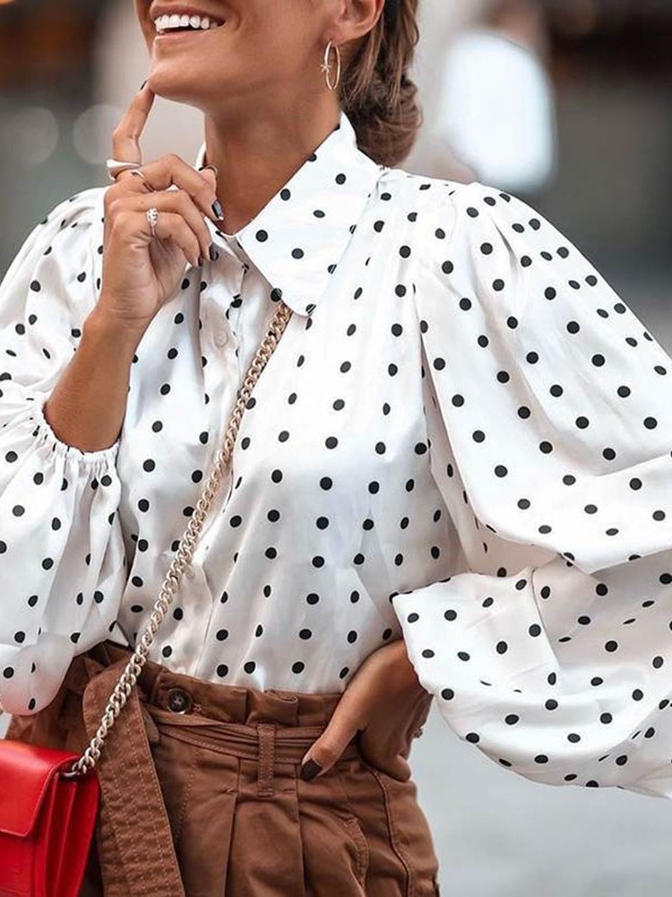 Patchwork Polka Dots Lapel Standard Long Sleeve Womens Blouse