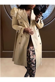 Long Double-Breasted Button Long Sleeve Straight Women's Trench Coat