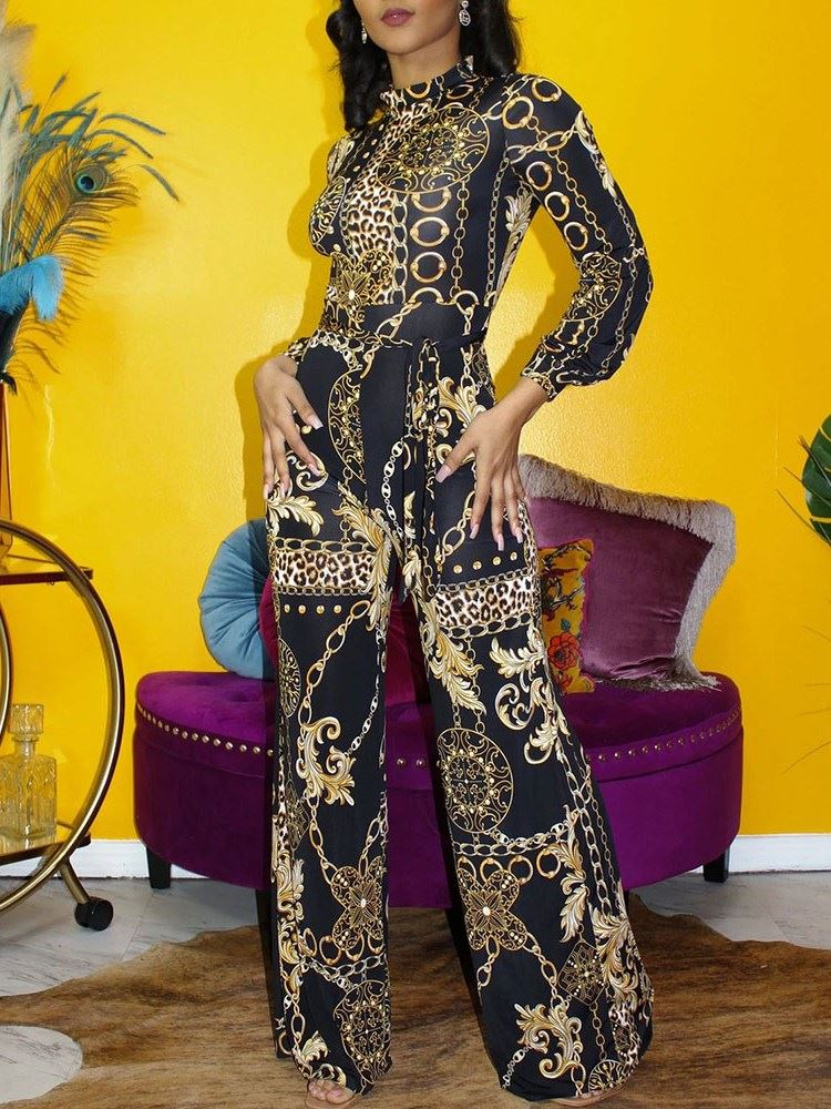 Party Cocktail Print Full Length Wide Legs Slim Womens Jumpsuit