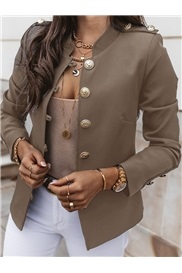 Long Sleeve Single-Breasted Stand Collar Fall Standard Women's Casual Blazer