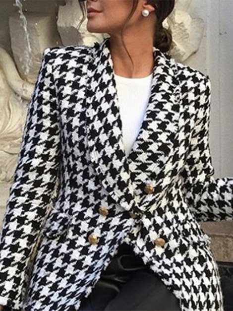 Long Sleeve Double-Breasted Houndstooth Standard Regular Women's Casual Blazer
