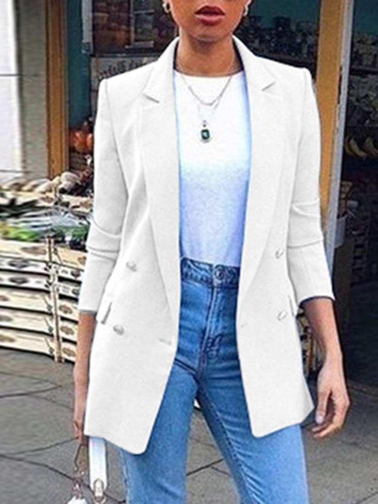 Long Sleeve Double-Breasted Lapel Mid-Length Regular Womens Casual Blazer
