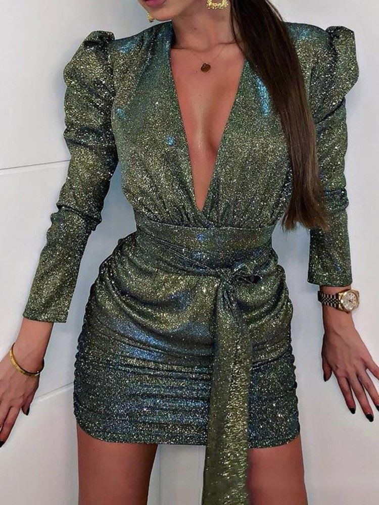 Above Knee Sequins V-Neck Sexy Bodycon Womens Dress