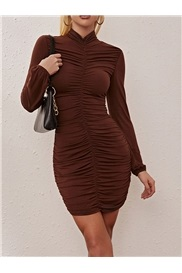 Above Knee Stand Collar Pleated Sexy Pullover Women's Dress