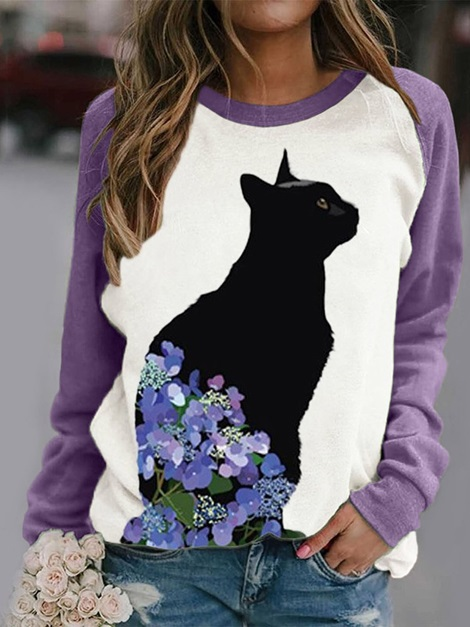 Long Sleeve Animal Round Neck Casual Summer Women's T-Shirt