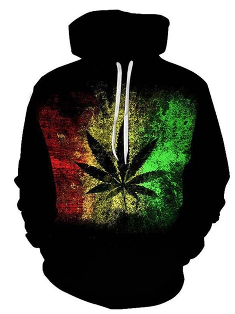 Pullover Thick Plant Print Loose Men's Hoodies