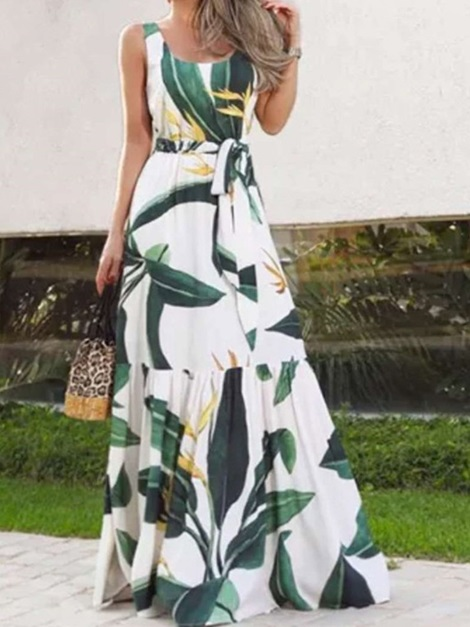 Floor-Length Lace-Up Sleeveless Pullover Expansion Women's Dress