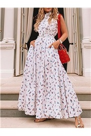Sleeveless Print Ankle-Length A-Line Floral Women's Floral Maxi Dress