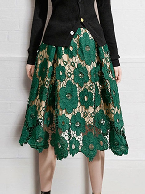 Patchwork Mid-Calf Floral Fashion Women's Skirt