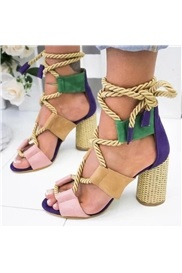 Open Toe Chunky Heel Lace-Up Korean Sandals