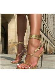 Lace-Up Stiletto Heel Square Toe Buckle Sandals