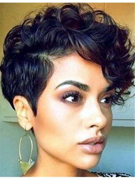Curly Women 120% Short Wigs Capless Synthetic Hair
