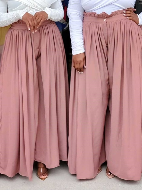 Button Loose Plain Full Length Wide Legs Women's Casual Palazzo Pants
