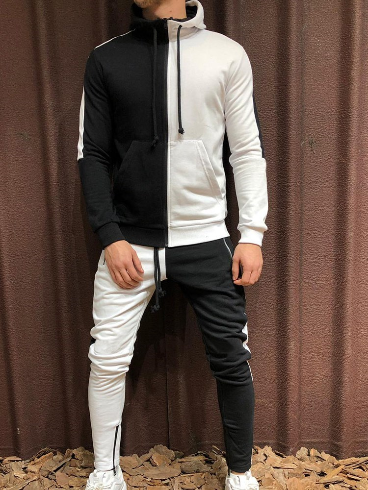 Jacket Casual Color Block Lace-Up Spring Mens Outfit