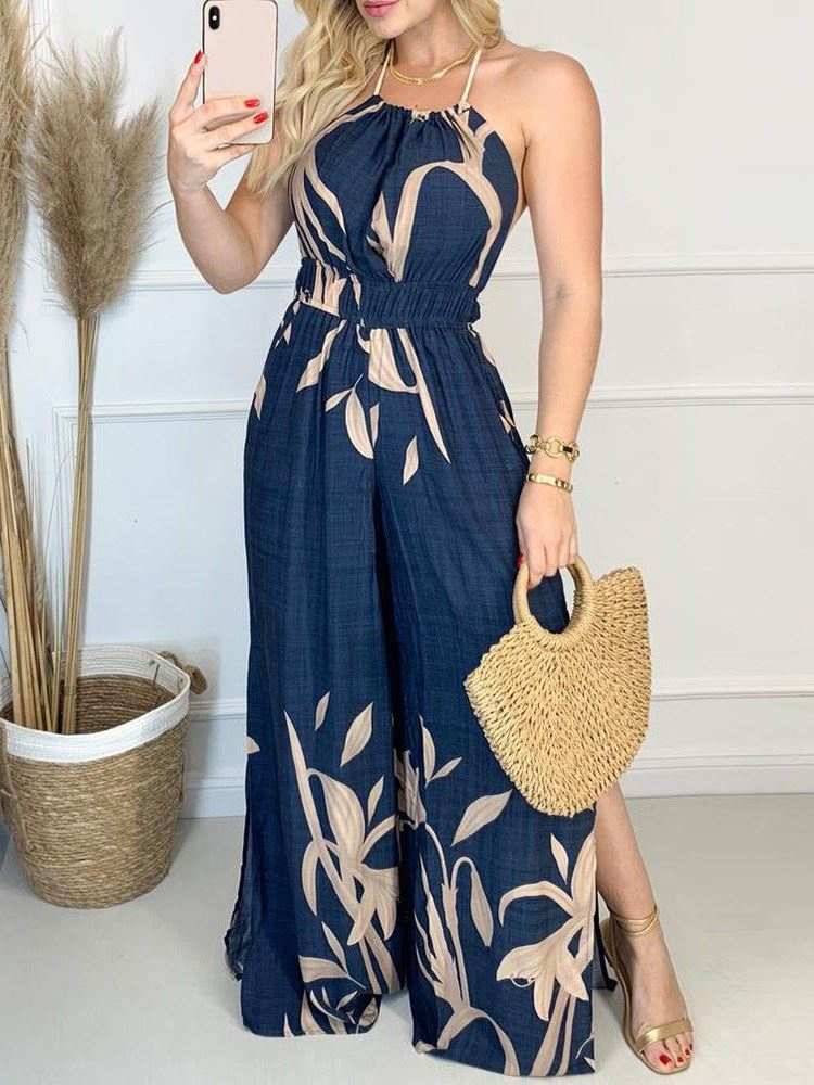 Full Length Patchwork Floral Mid Waist Loose Womens Jumpsuit