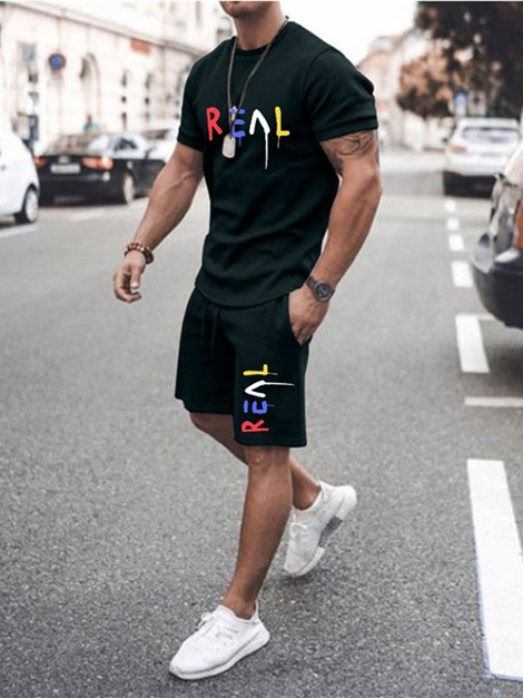 Casual T-Shirt Print Letter Summer Men's Outfit