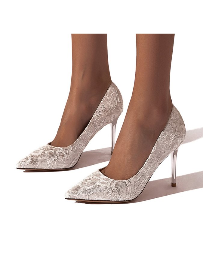 Wedding Shoes Lace Stiletto Heel Pointed Toe Plain Thin Shoes