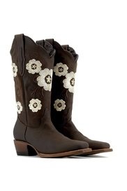 Block Heel Floral Square Toe Ethnic Boots