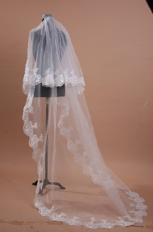 Brilliant Cathedral Length Tulle Appliques Wedding Veil