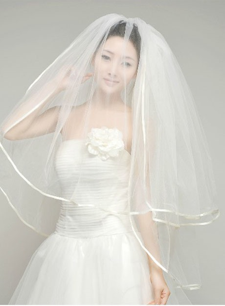 Pure Elbow Wedding Veil With Satin Edge