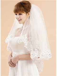 Graceful Waltz Wedding Veil With Lace Applique Edge
