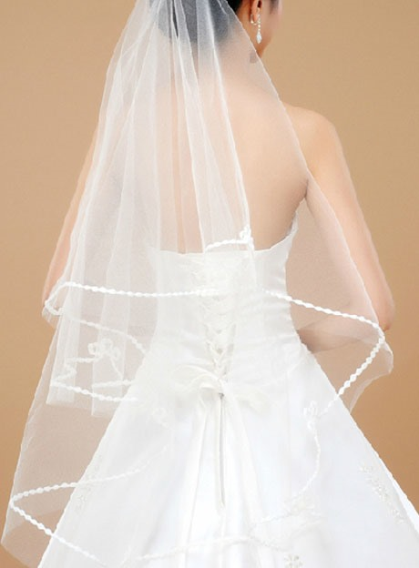 Pretty Tidebuy Waltz Length White Tulle Wedding Veil