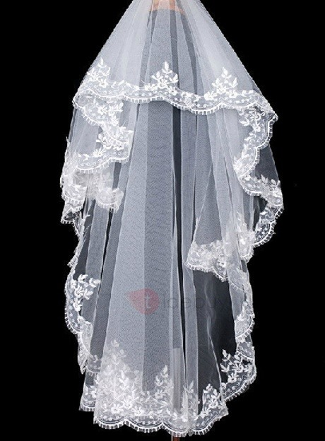 Waltz Length White Tulle Wedding Veil with Appliques Edge