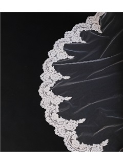Popular Chapel Wedding Bridal Veil with Lace Applique Edge