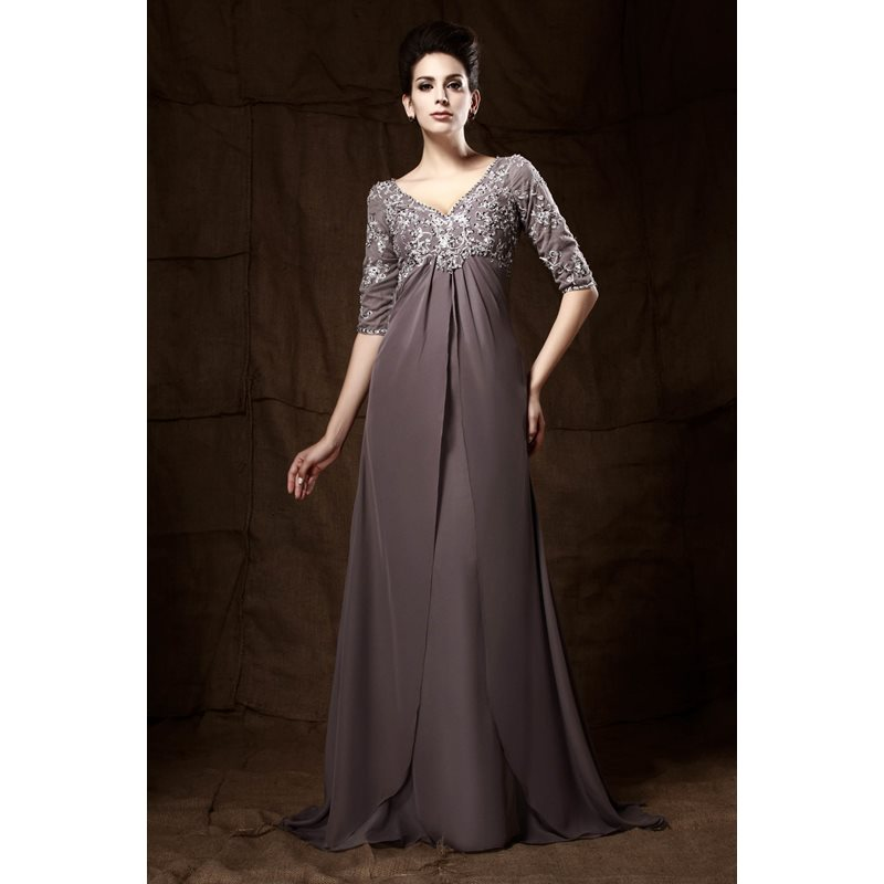 Appliques Half Sleeve Empire Waist Mother of the Bride Dress