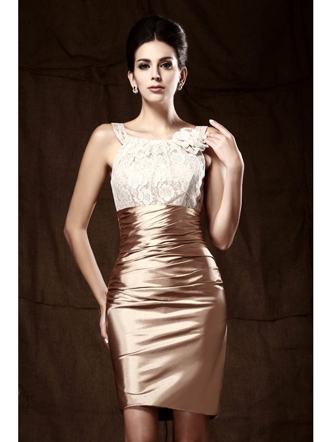 Sheath Scoop Neck Lace Short Mother Of The Bride Dress